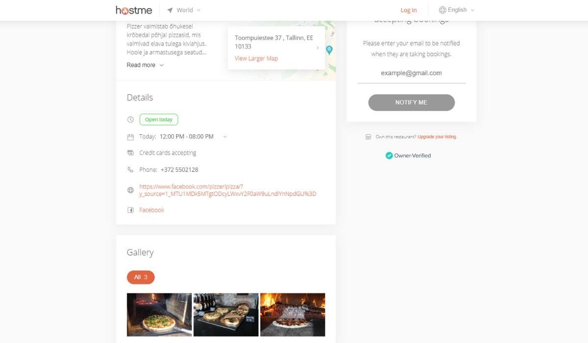 HostMe rakendus restoranidele